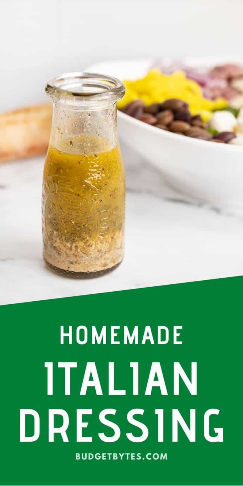 Italian dressing in a glass carafe with title text at the bottom