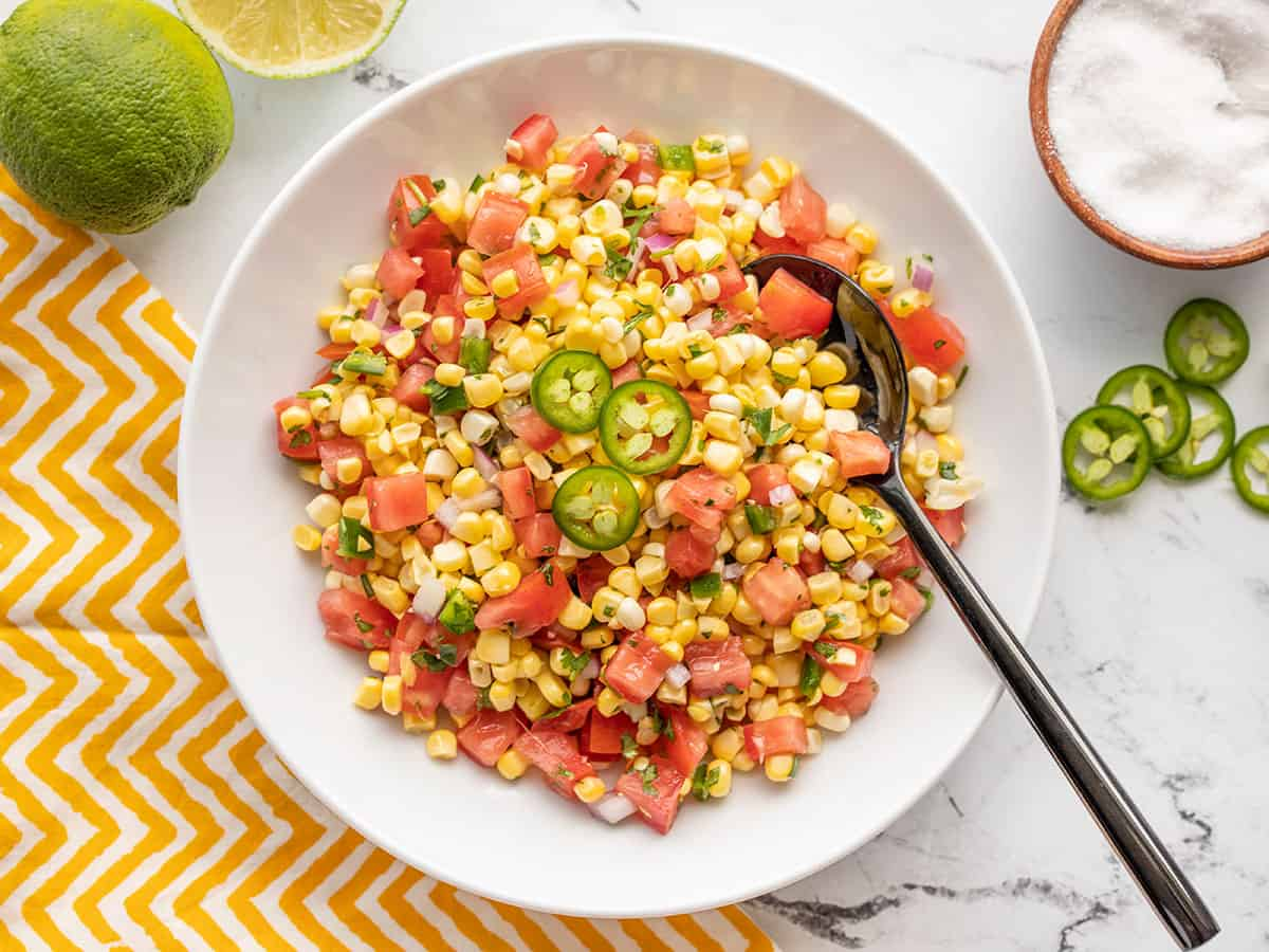 overhead view of a bowl full of corn salsa