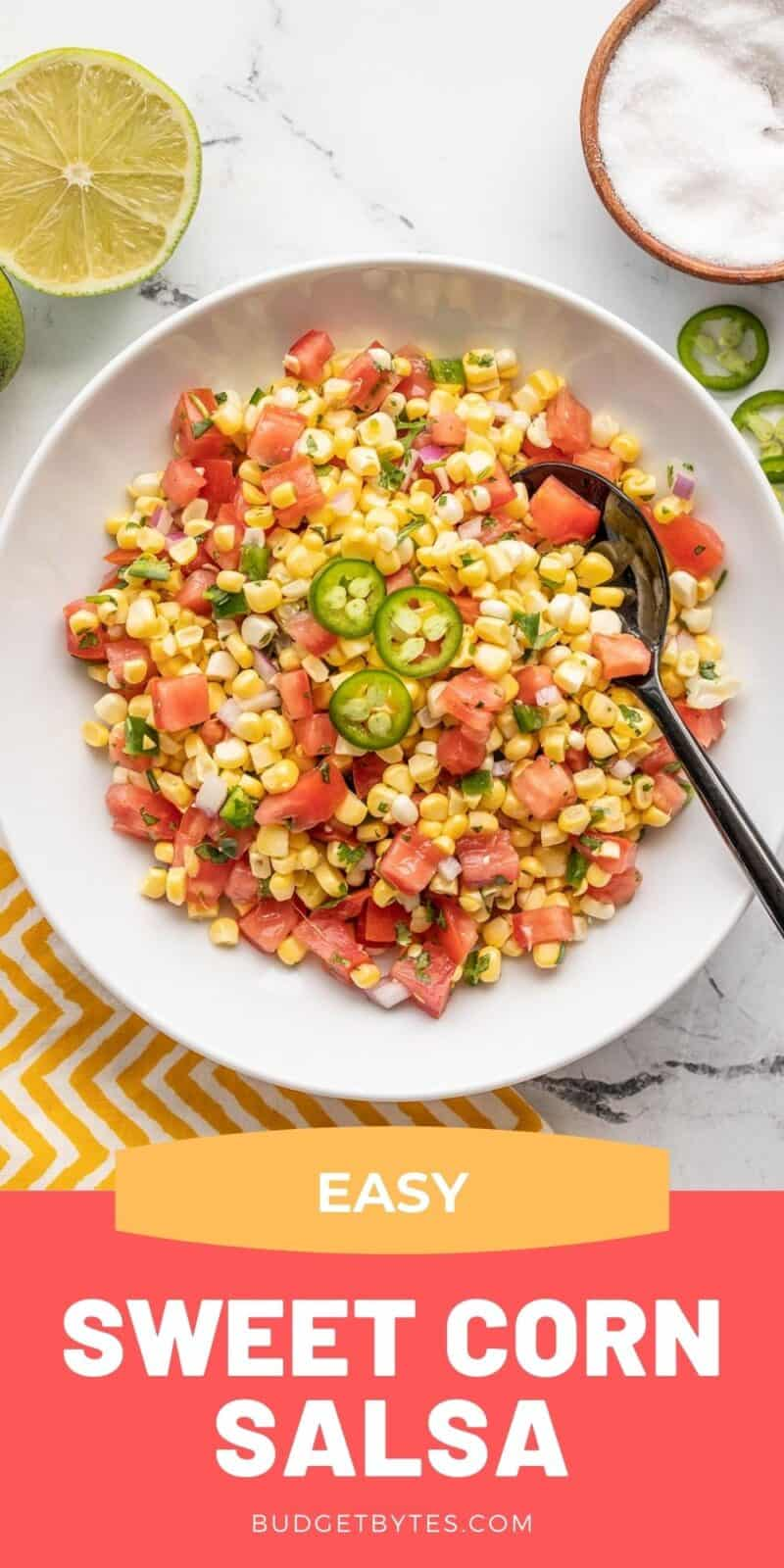 sweet corn salsa in a bowl with title text at the bottom