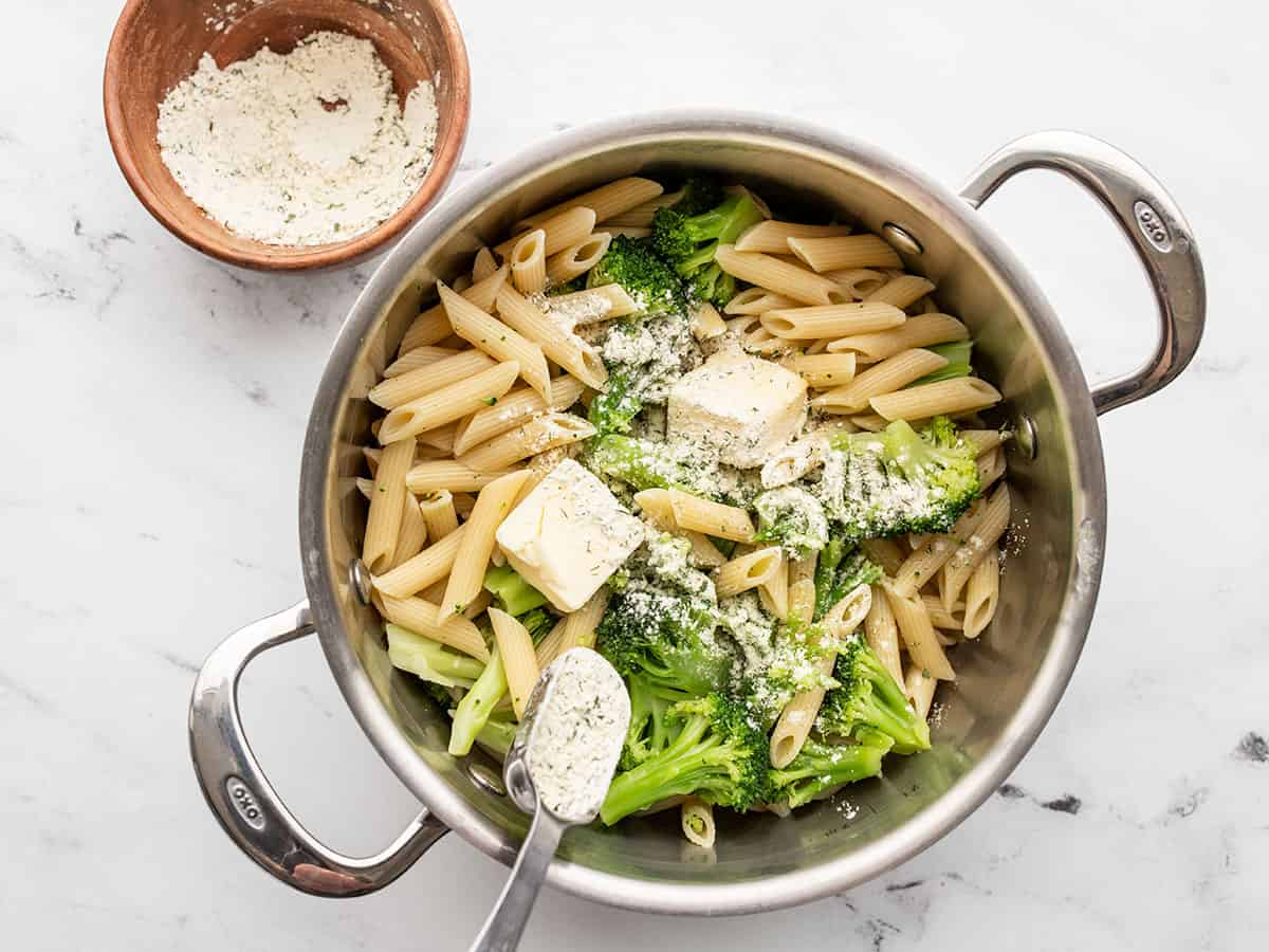 butter and ranch seasoning added to the drained pasta and broccoli