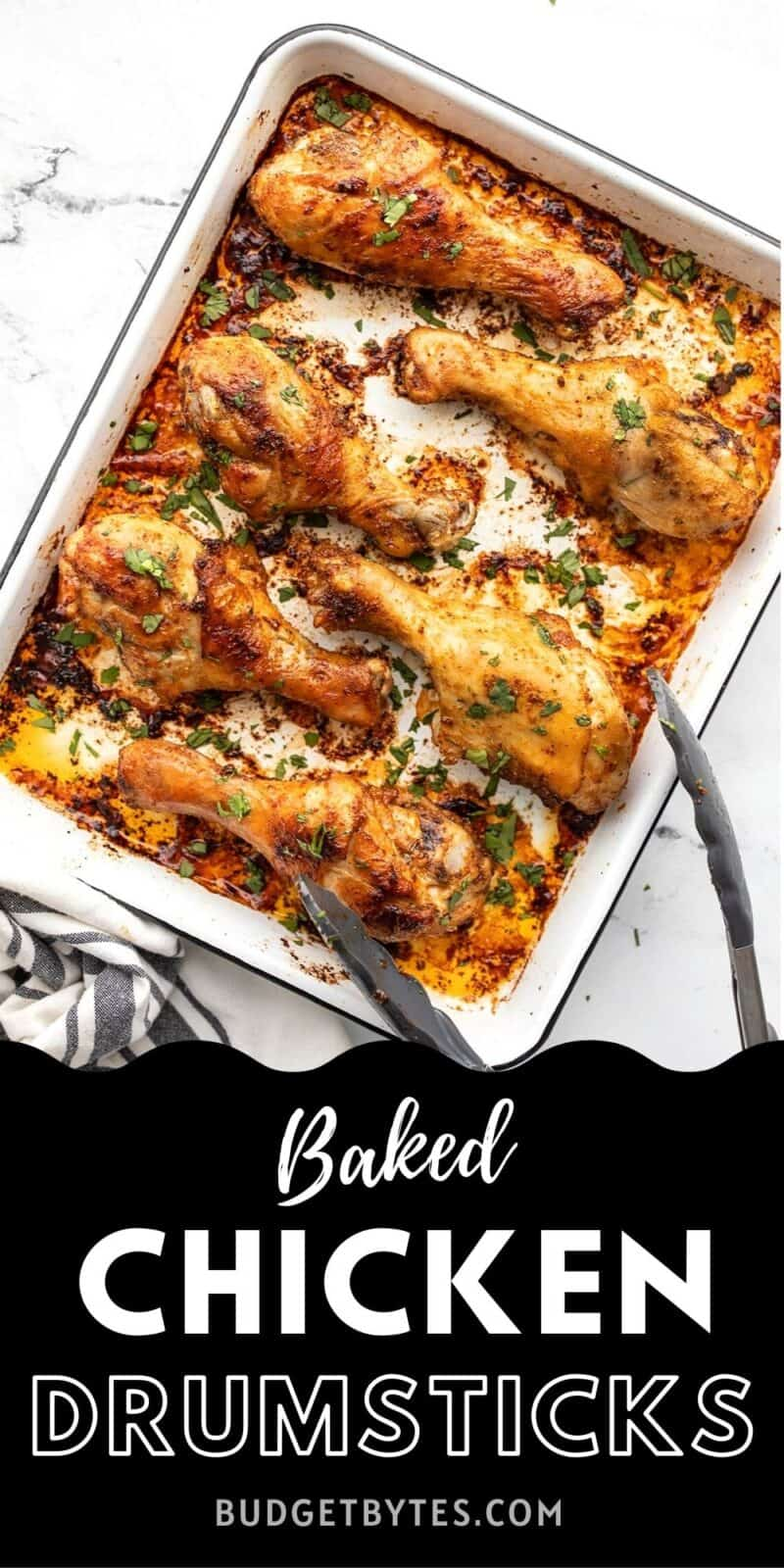 Baked chicken drumsticks on a baking sheet with tongs, title text at the bottom