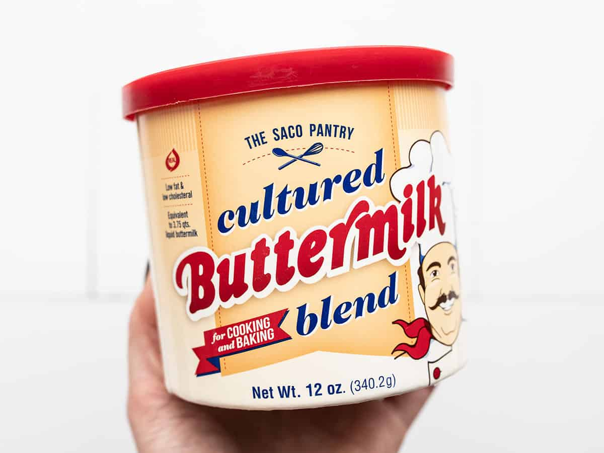 A container of buttermilk powder