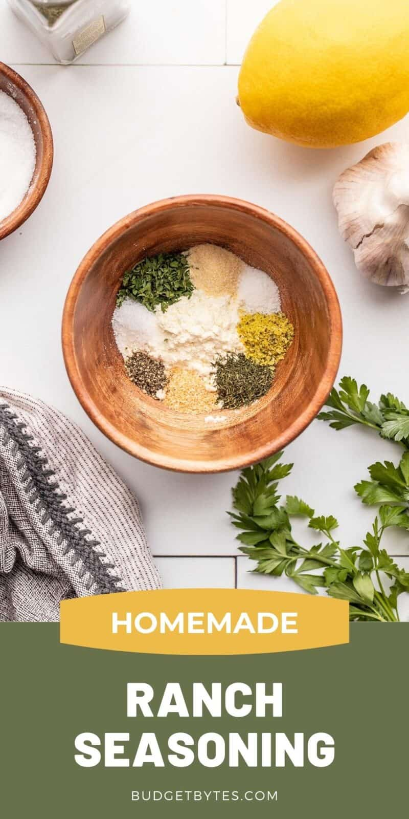 homemade ranch seasoning mix in a bowl, title text at the bottom
