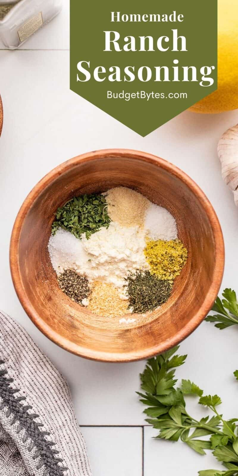ranch seasoning ingredients in a wooden bowl, title text at the top