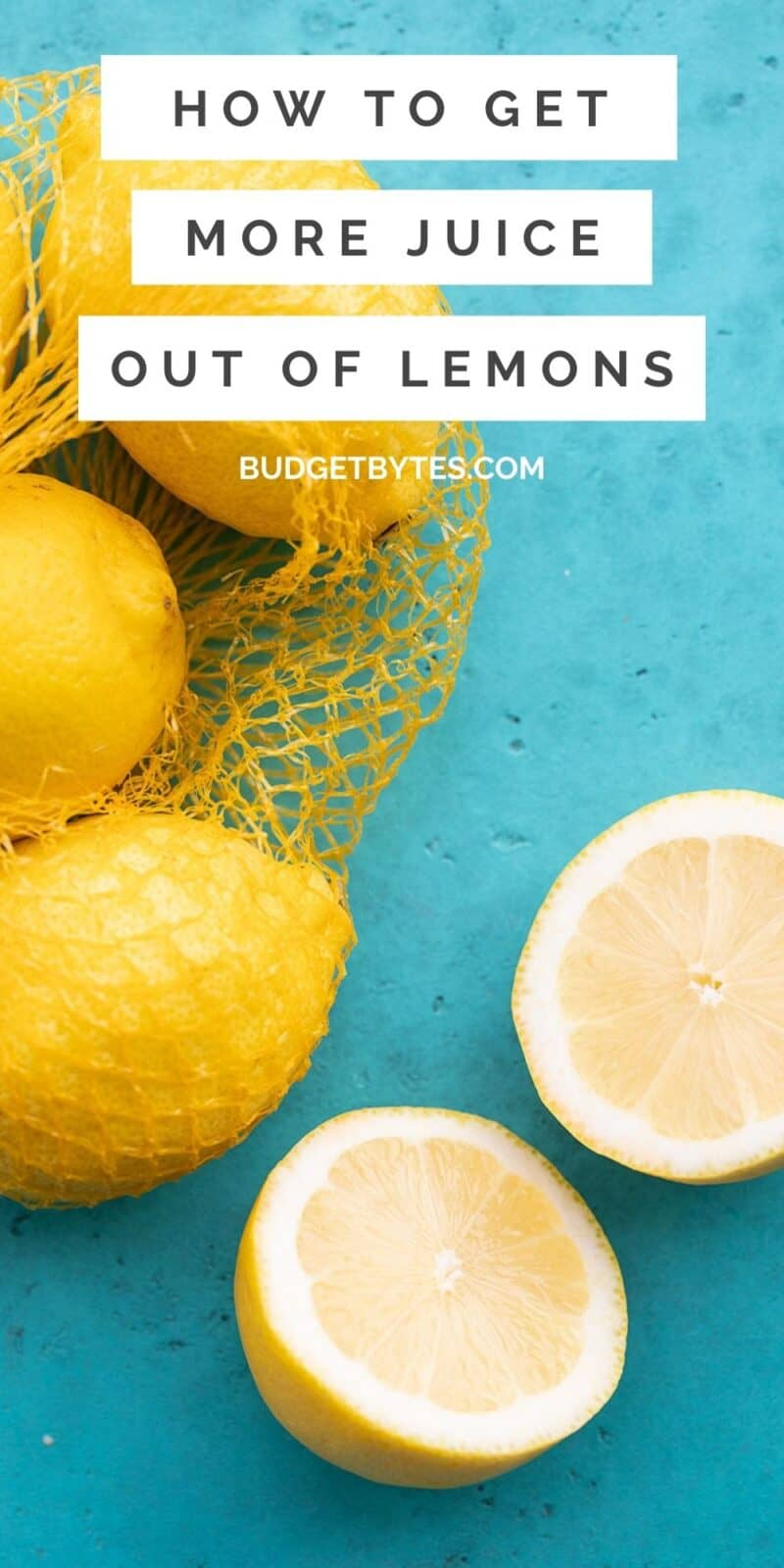 Fresh lemons on a blue background, title text at the top