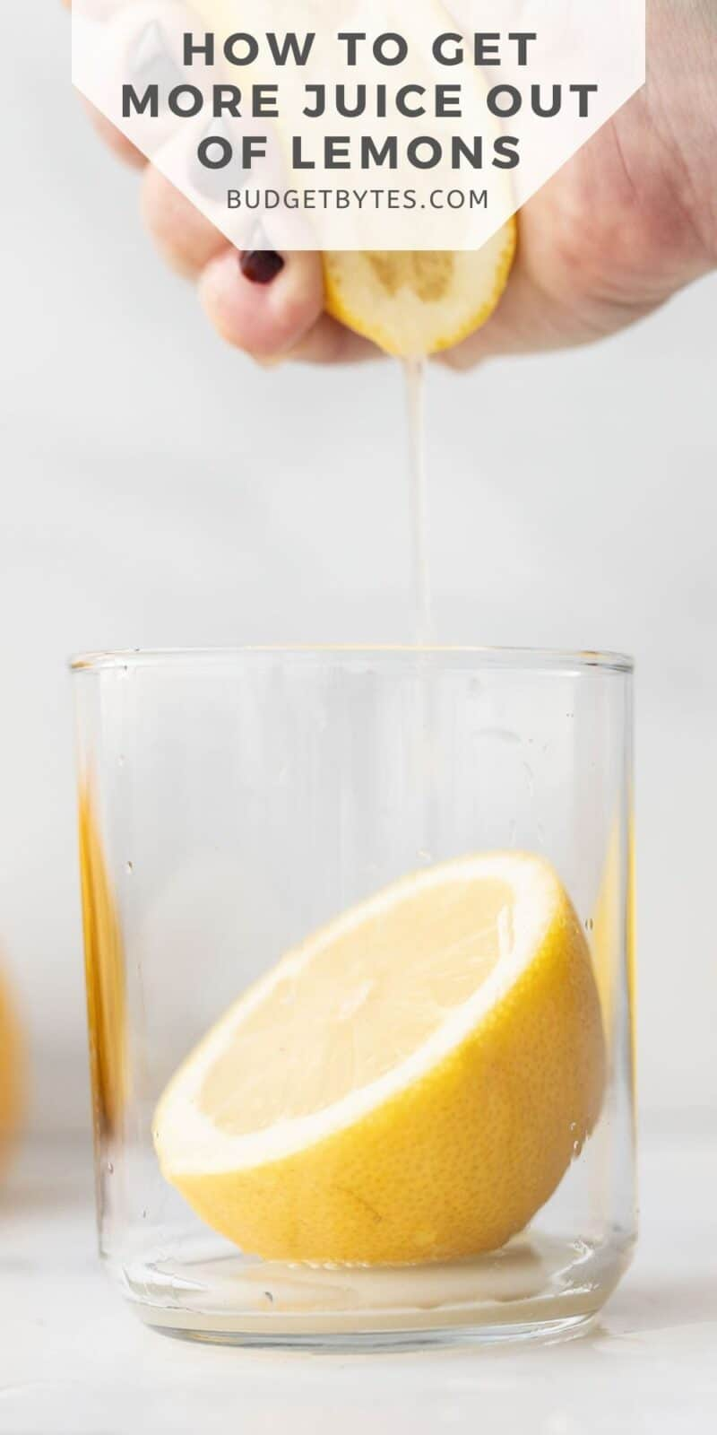 a hand squeezing a lemon into a glass, title text at the top