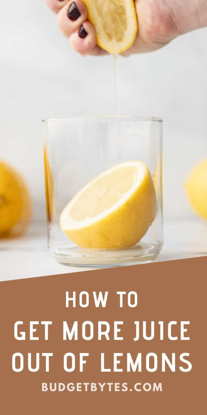 a hand squeezing a lemon into a glass, title text at the bottom