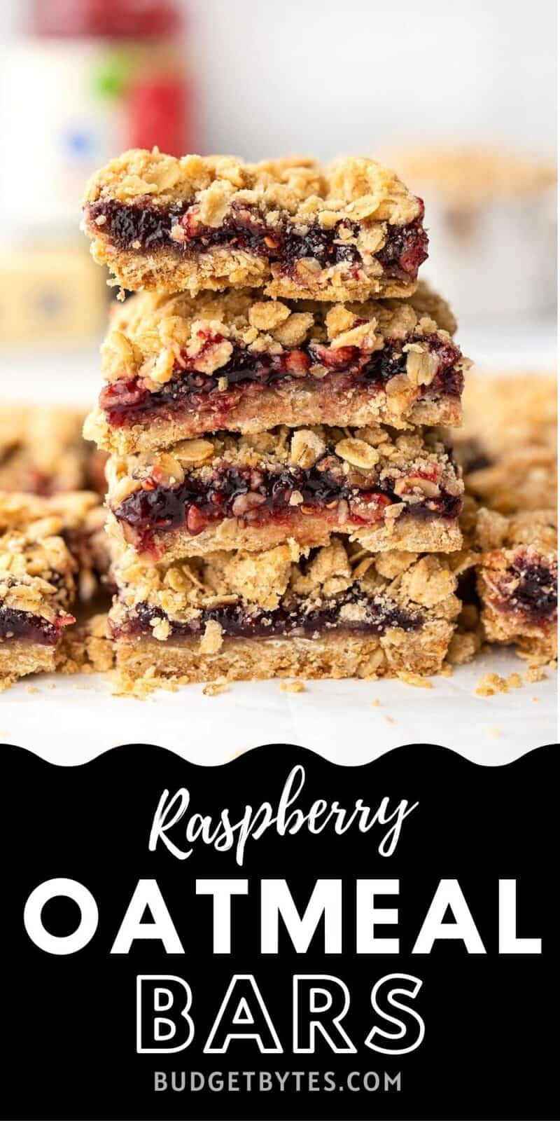 Raspberry Oatmeal Bars stacked, title text at the bottom