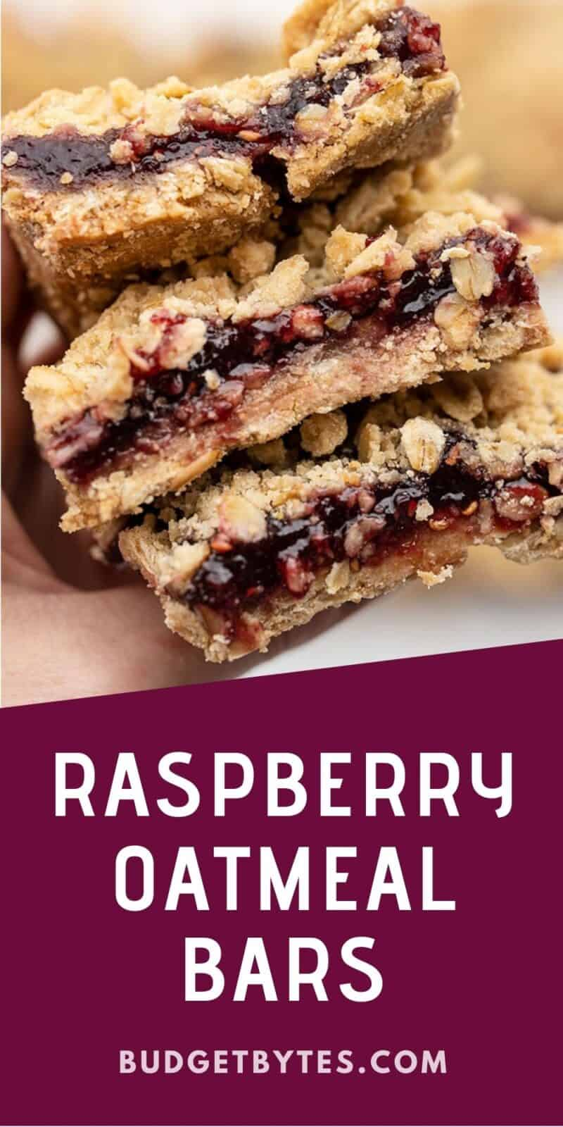 A stack of raspberry oatmeal bars held in a hand, title text at the bottom