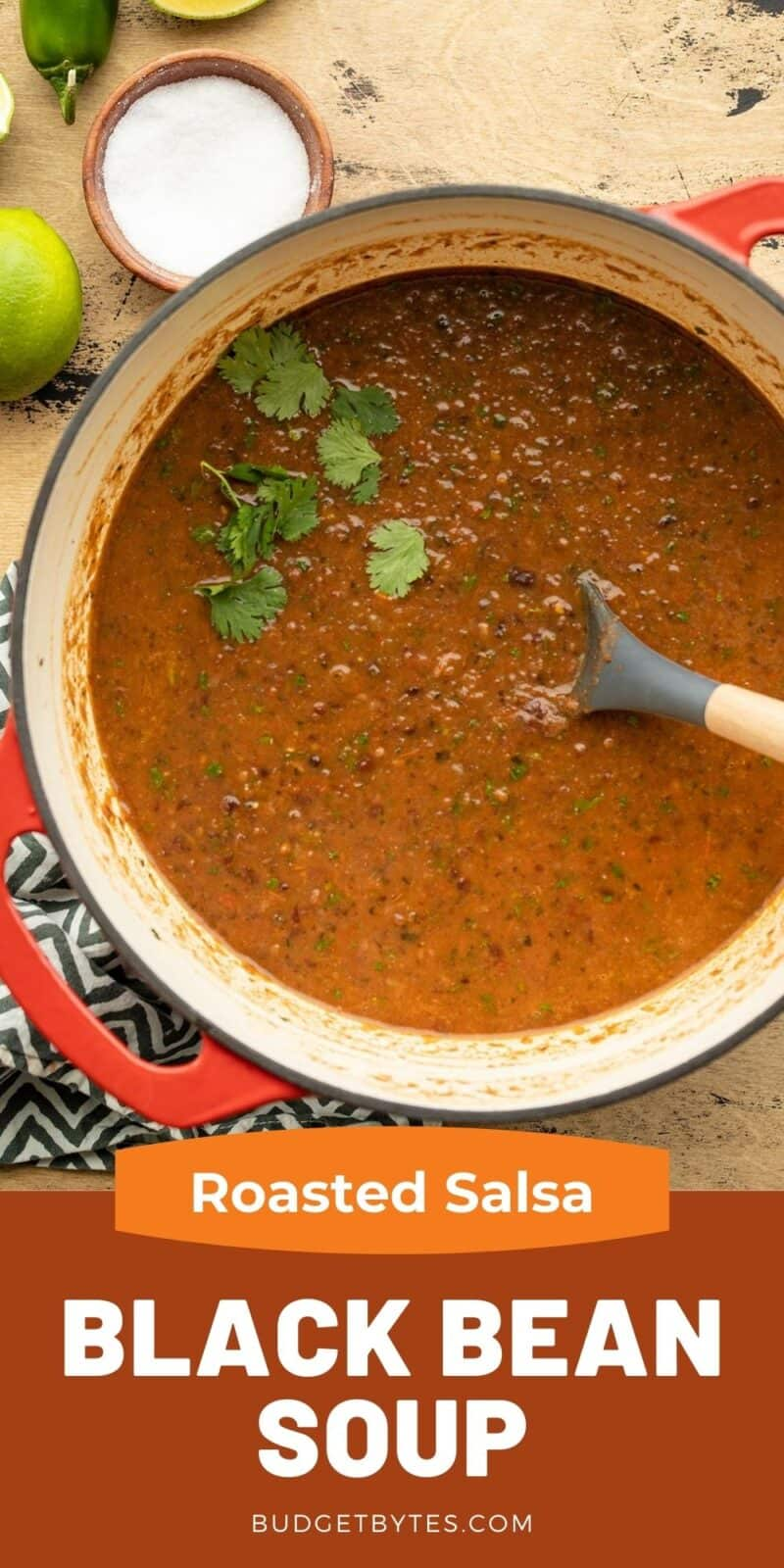 A pot full of roasted salsa and black bean soup, title text at the bottom