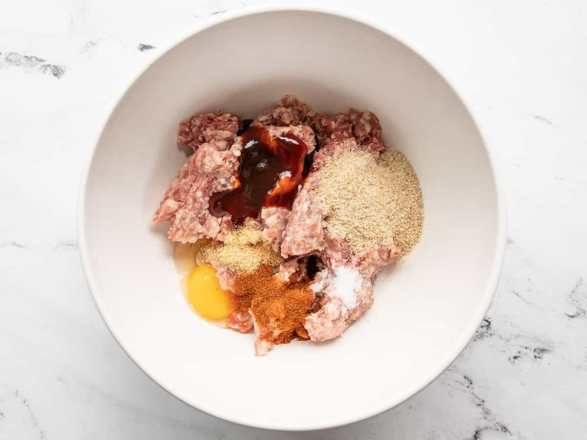 meatball ingredients in a bowl
