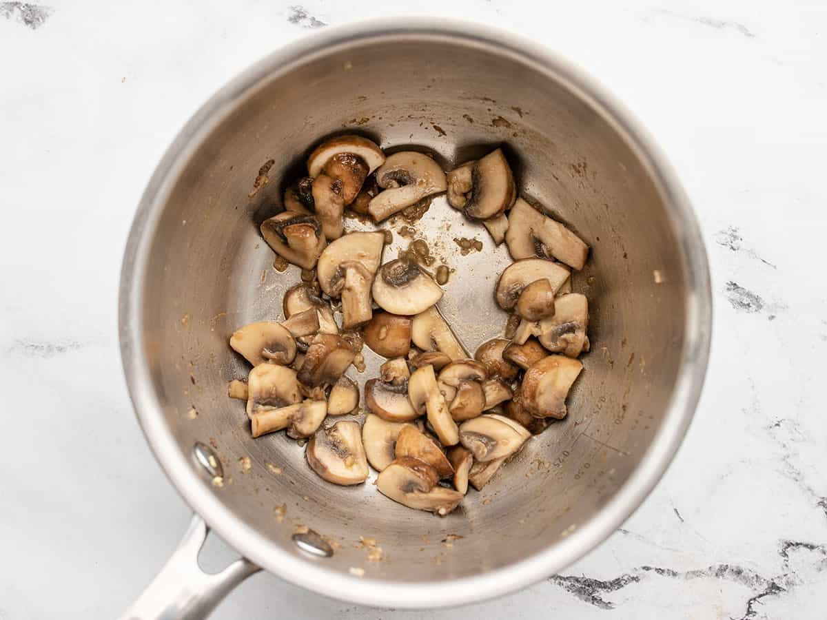 sautéed mushrooms in the pot