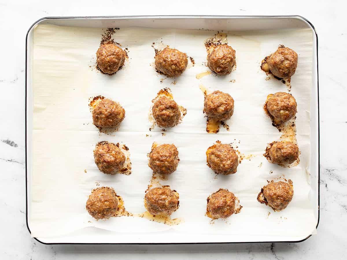 Baked meatballs on the baking sheet