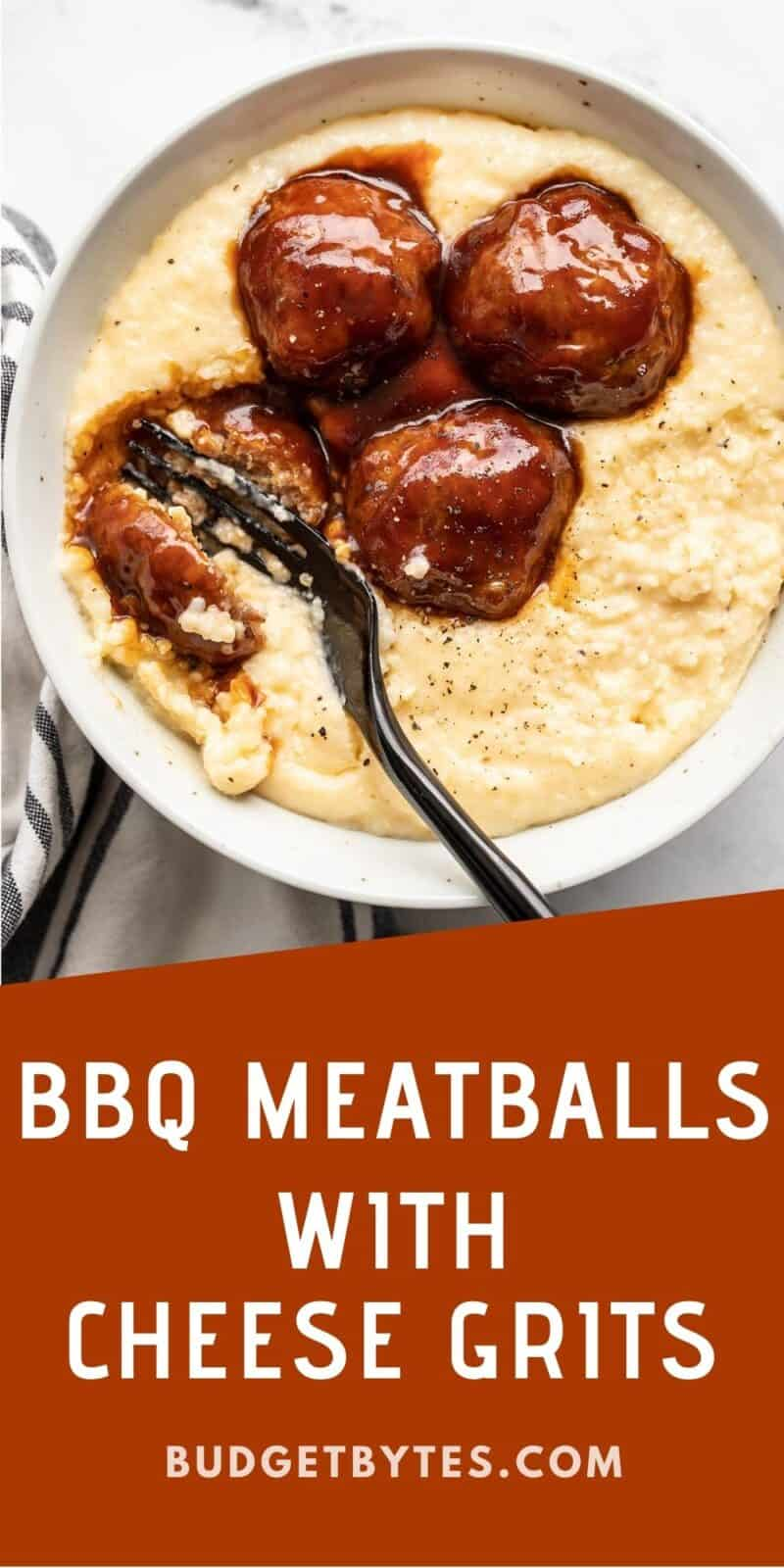 A fork cutting into a bbq meatball on a bed of cheese grits
