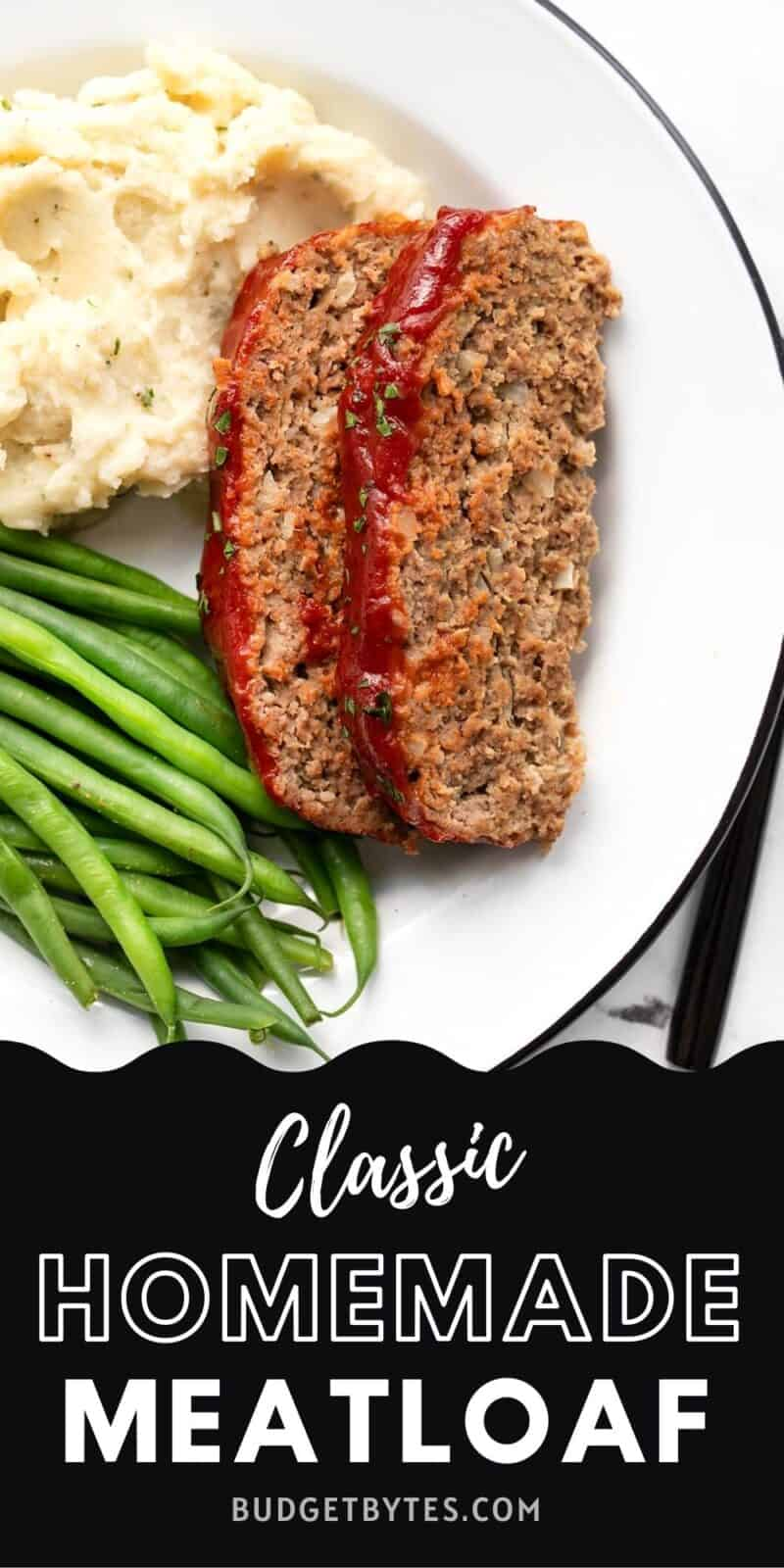 Two slices of meatloaf on a plate with green beans and mashed potatoes, title text at the bottom.