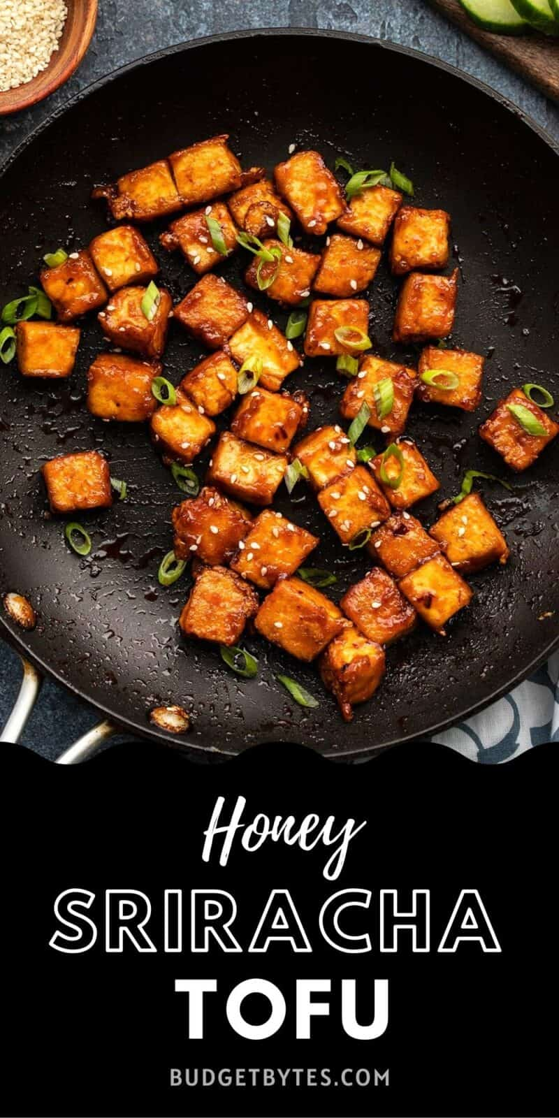honey sriracha tofu in a skillet, title text at the bottom