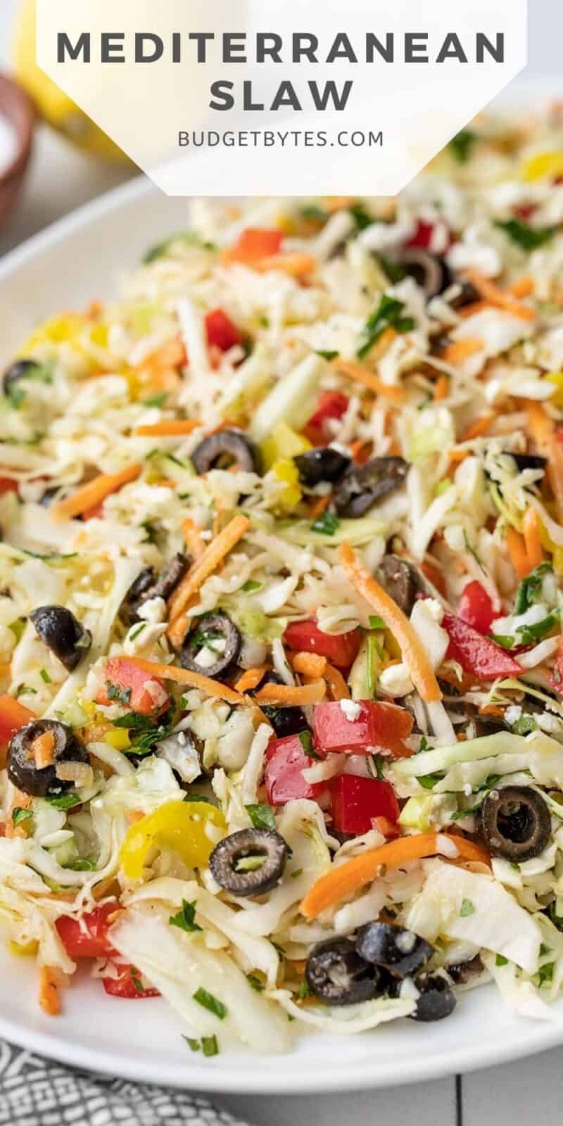 close up of mediterranean coleslaw with title text at the top