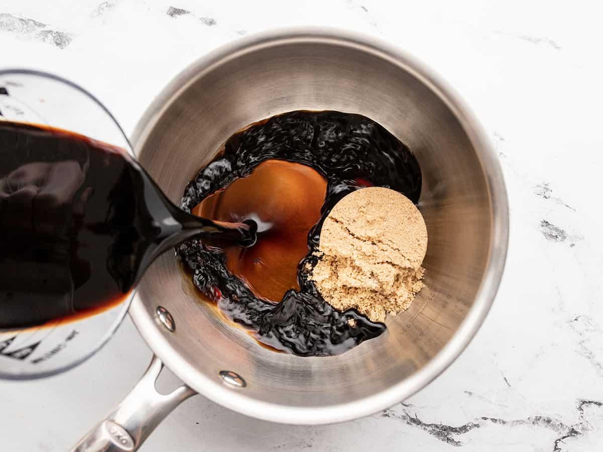 Balsamic vinegar and brown sugar in a small saucepot