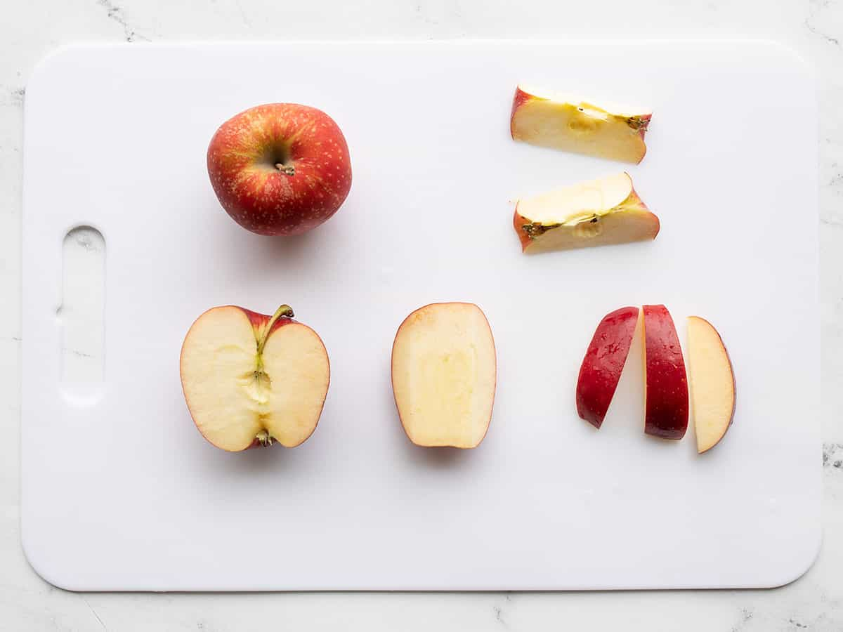 Sliced apples on a cutting board