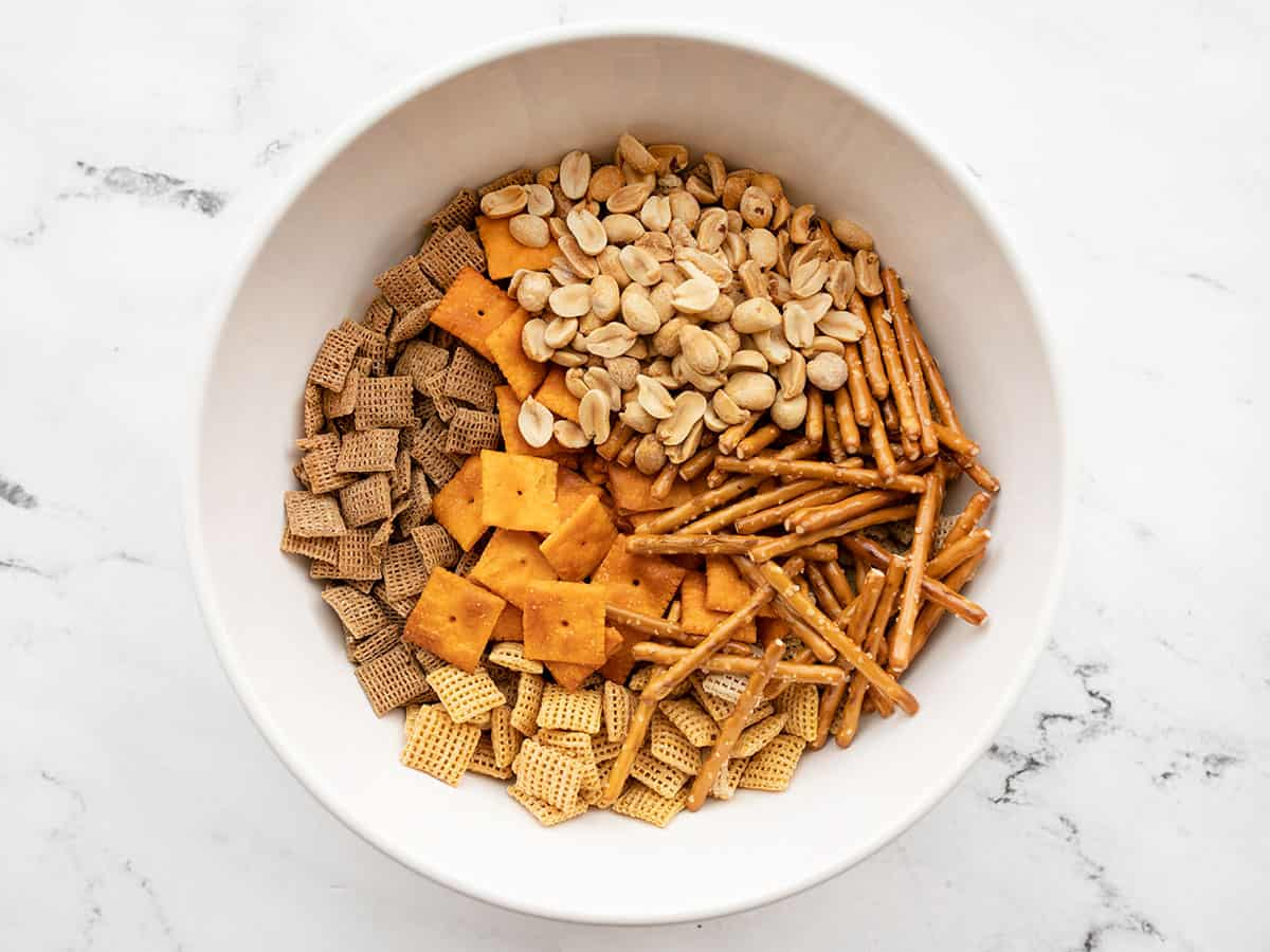 chex mix dry ingredients in a bowl