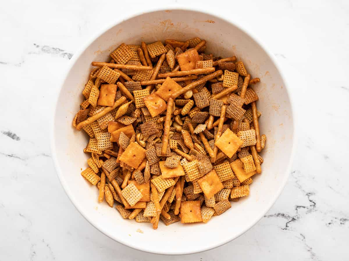 Seasoned snack mix in the bowl, unbaked