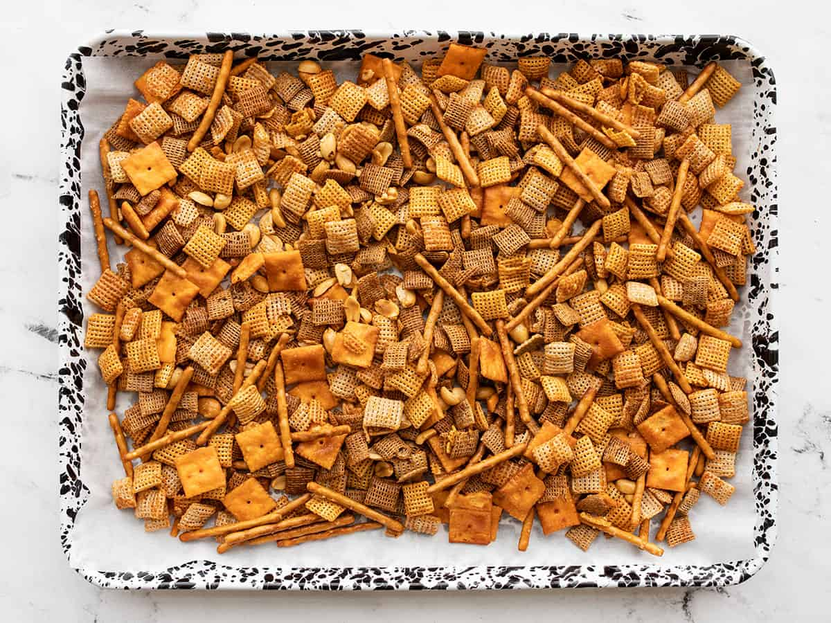 snack mix on baking sheet not baked