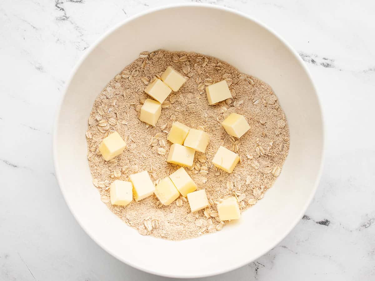chunks of butter added to topping
