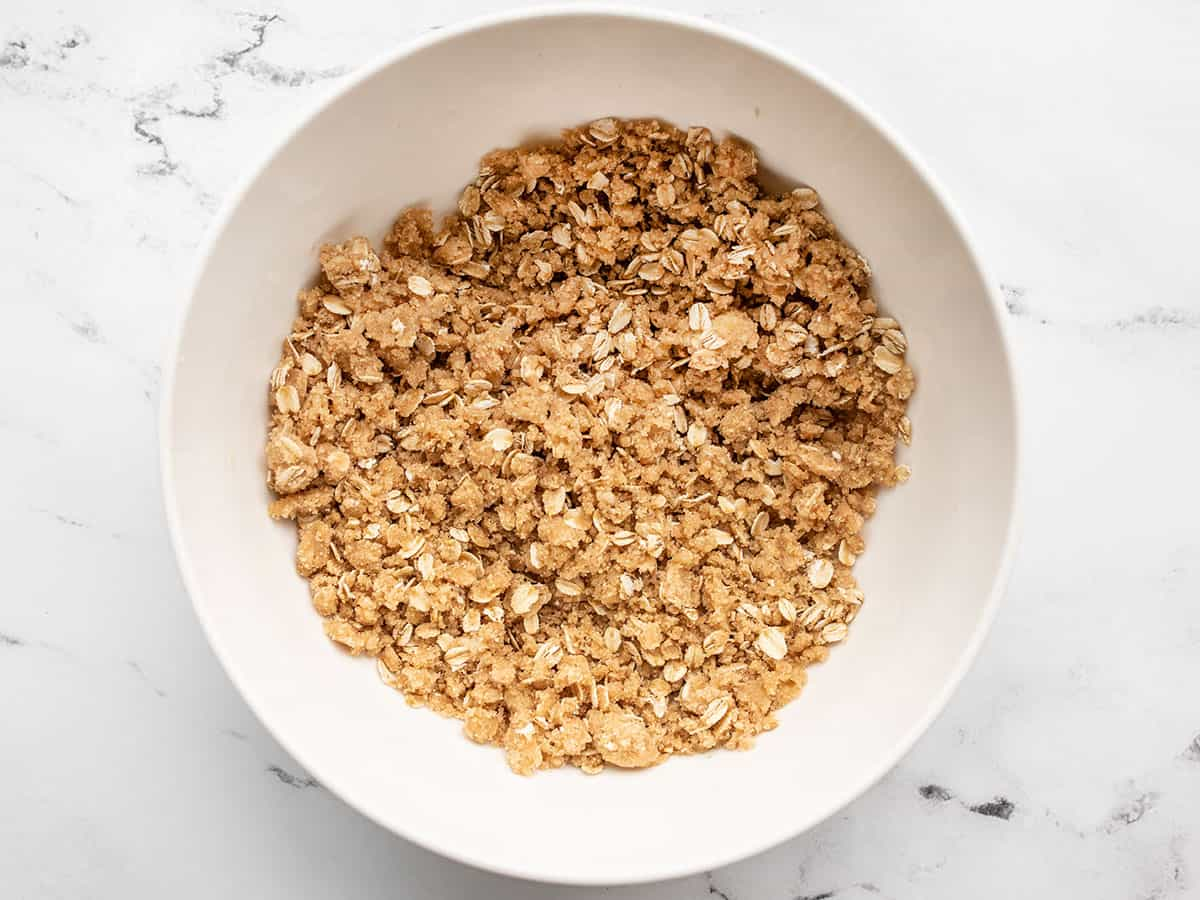finished crumbly oat topping