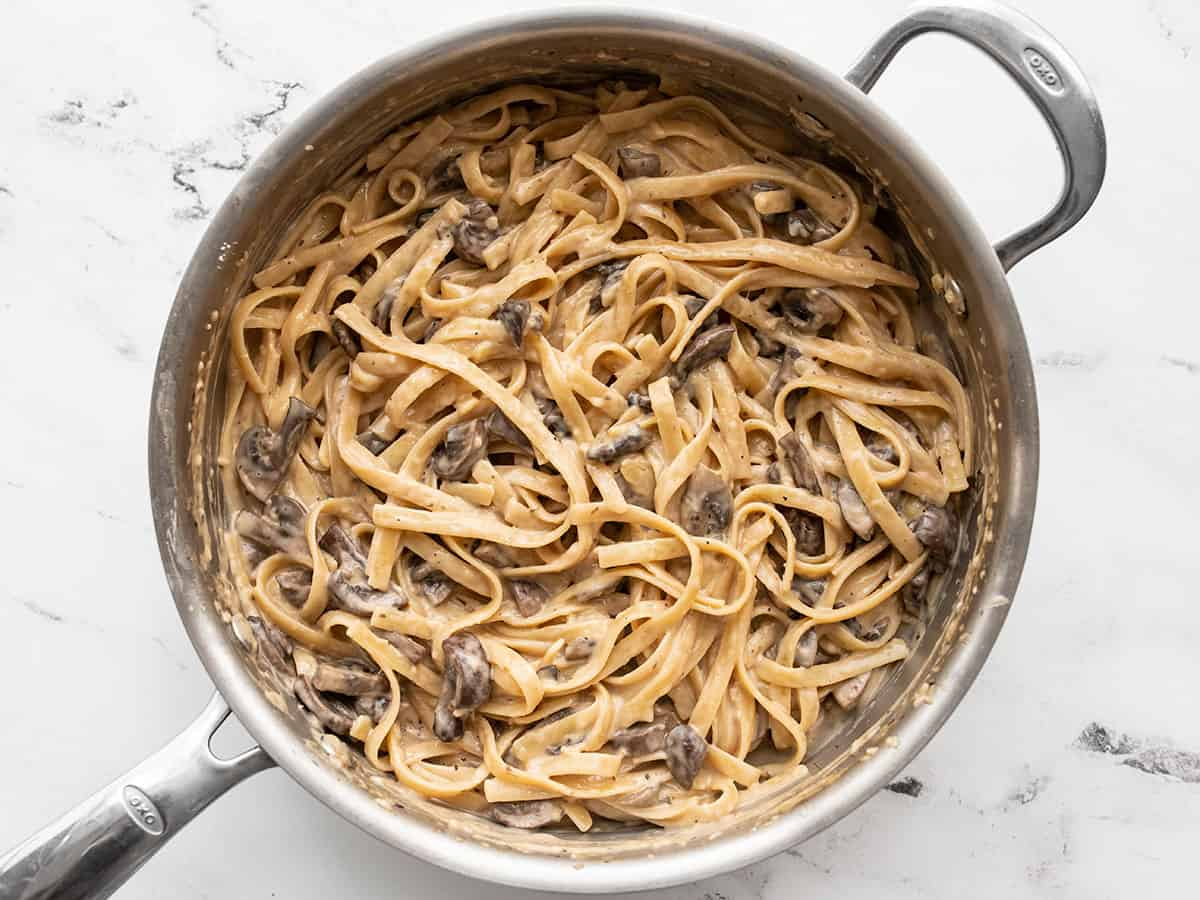 Finished one pot creamy mushroom pasta in the skillet