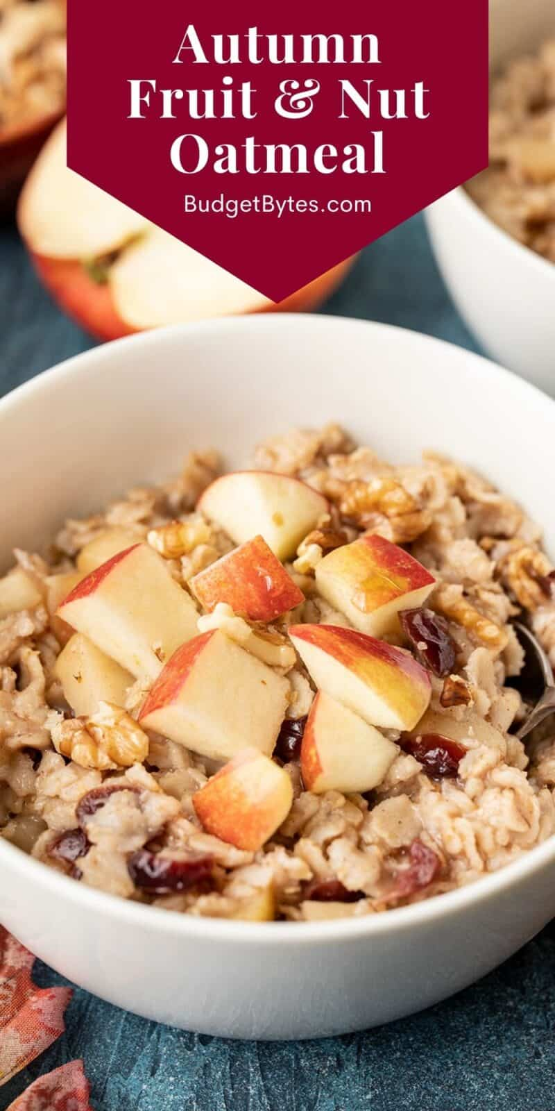 Close up side view of a bowl of autumn fruit and nut oatmeal, title text at the top