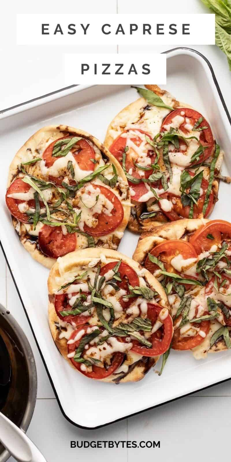 Four Caprese pizzas on a tray, title text at the top