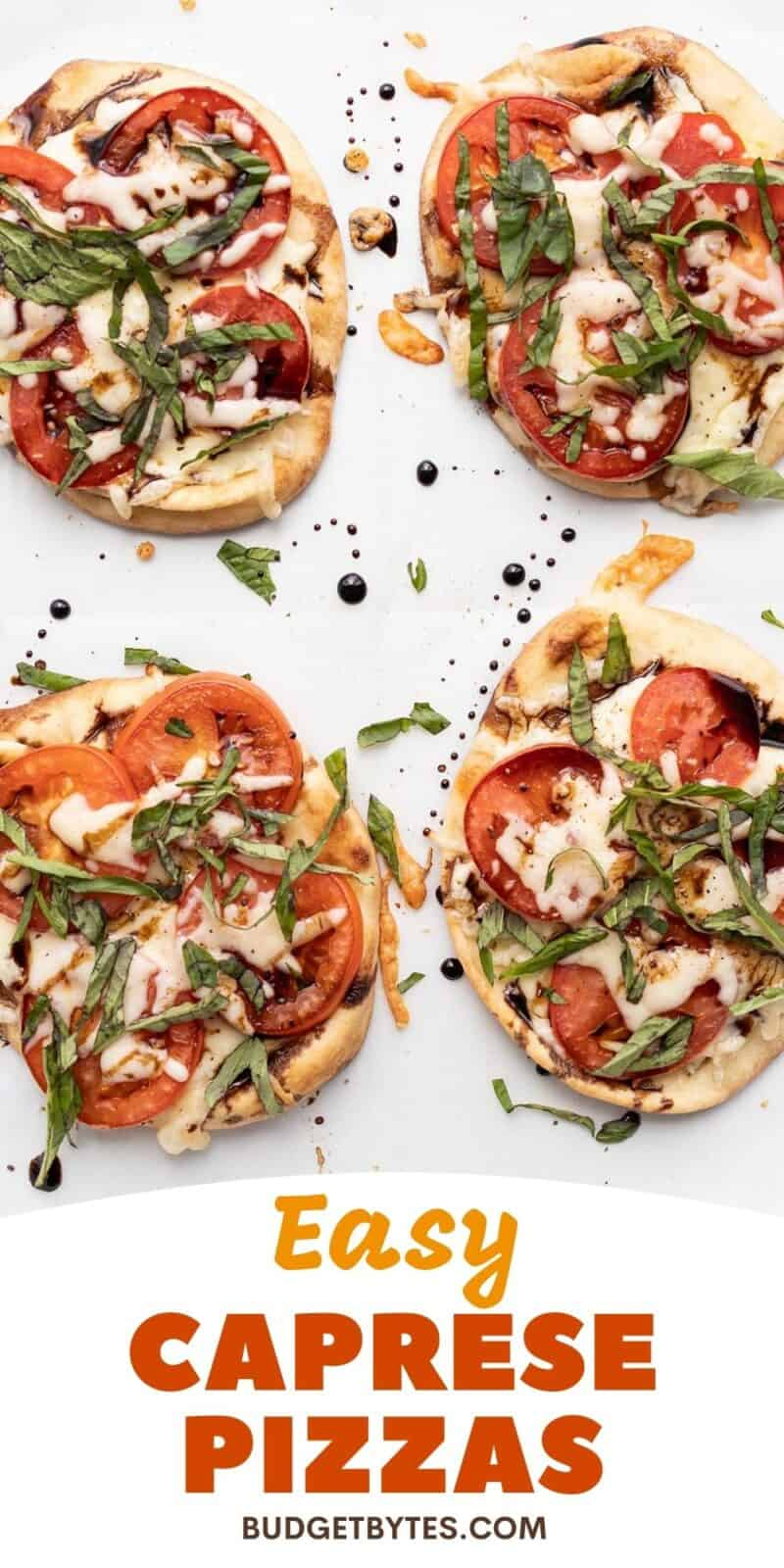 Four Caprese Pizzas with title text at the bottom
