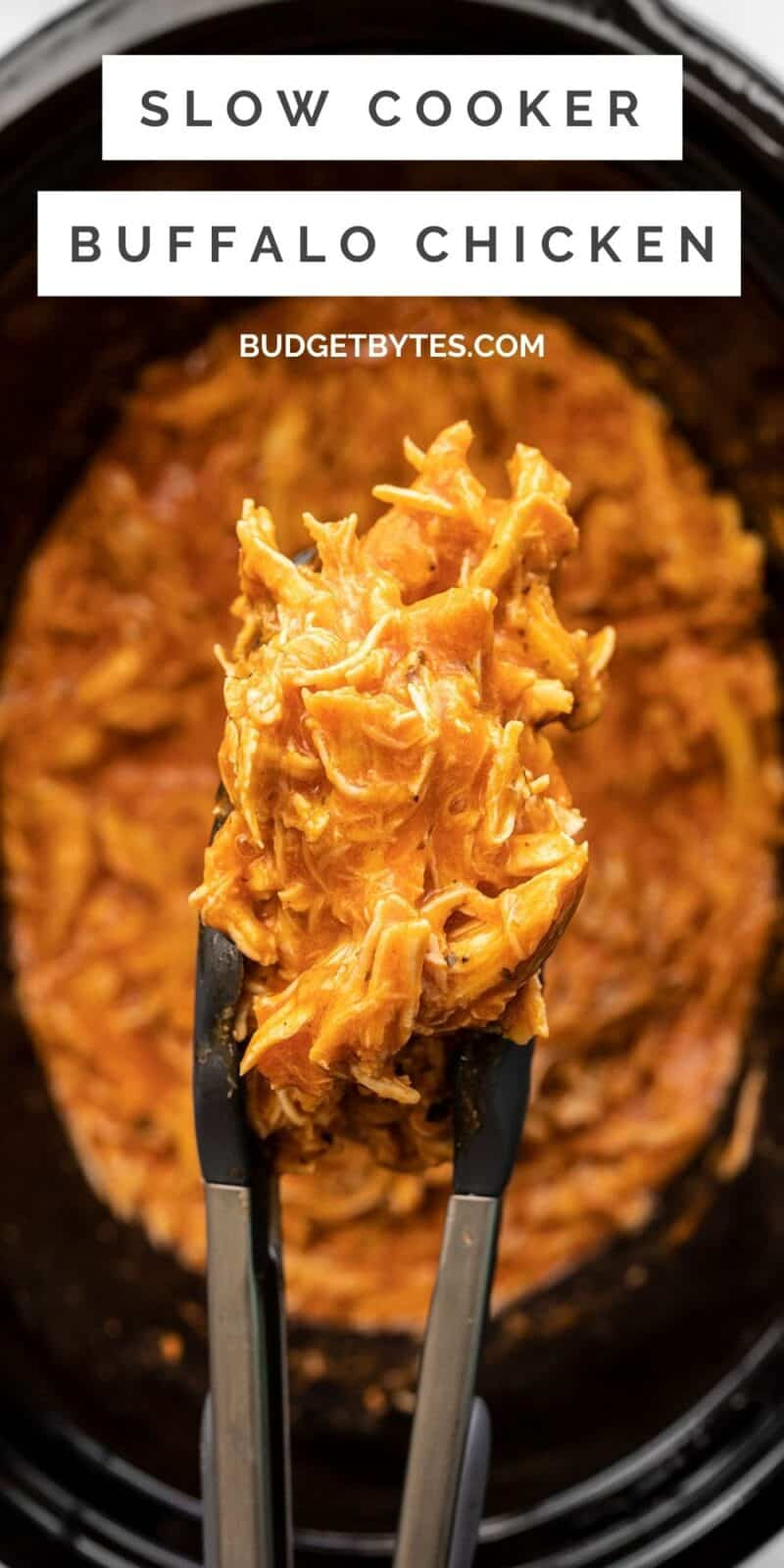 Slow cooker buffalo chicken in tongs over the slow cooker, title text at the top
