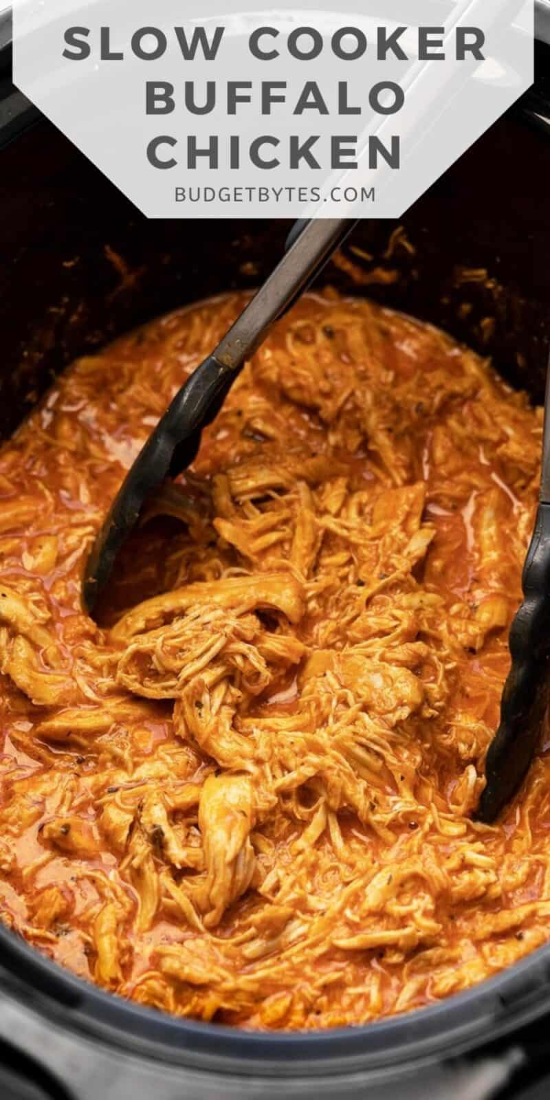 close up of slow cooker buffalo chicken in the crock pot, title text at the top