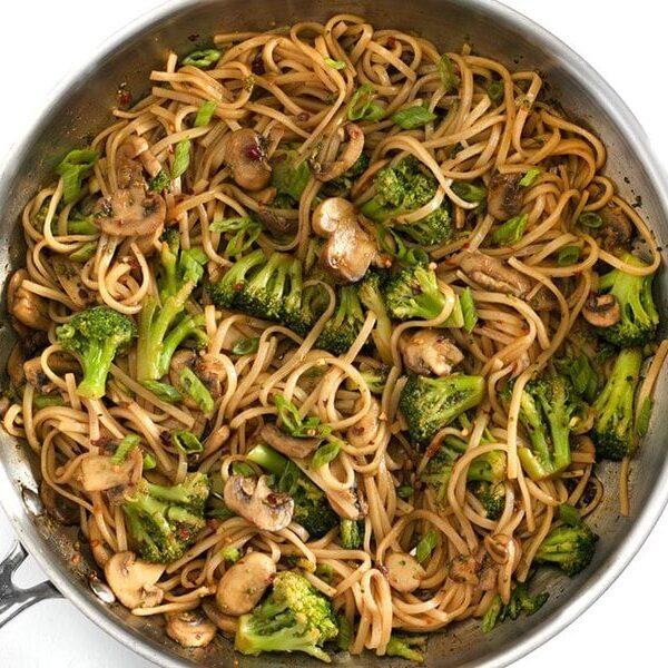 Finished Mushroom Broccoli Stir Fry Noodles